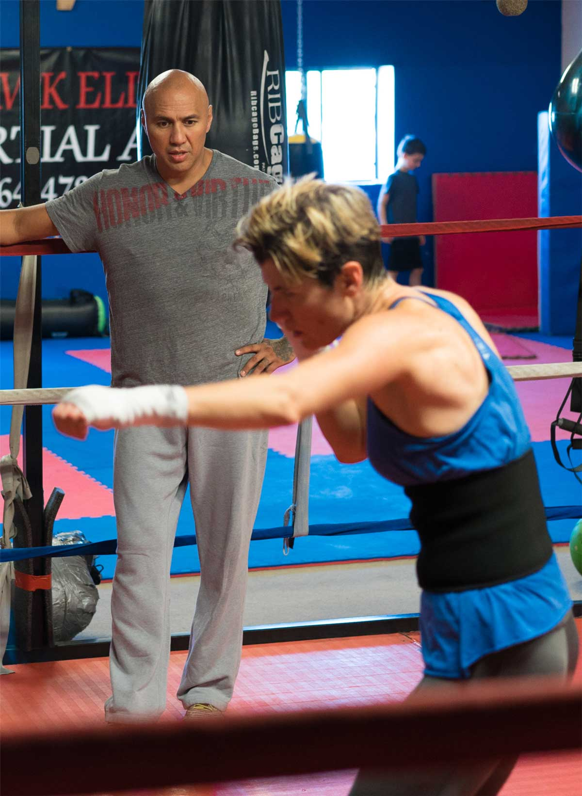 Coach Chris training one of his MMA students
